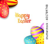 happy easter eggs and text on... | Shutterstock .eps vector #601789748