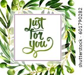 olive tree frame in a... | Shutterstock . vector #601790282