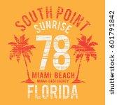 florida miami beach summer... | Shutterstock .eps vector #601791842