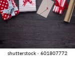 decorations and gift boxes on... | Shutterstock . vector #601807772