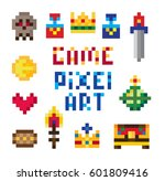 pixel art retro icons for video ... | Shutterstock .eps vector #601809416