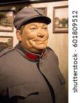 Small photo of Prague, Czech Republic - 21 February, 2016: The wax figure of the soldier Schweik - protagonist of the satire, dark comedy novel by Jaroslav Hasek. Madame Tussaud museum in Prague, Czech Republic.
