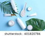natural cosmetics and leaves on ...   Shutterstock . vector #601820786