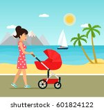 young mother walking on beach.... | Shutterstock .eps vector #601824122