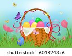 easter basket with eggs | Shutterstock .eps vector #601824356