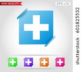 colored icon or button of plus... | Shutterstock .eps vector #601825532