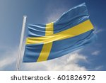 swedish flag is waving at a... | Shutterstock . vector #601826972