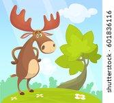 cool cartoon moose. vector... | Shutterstock .eps vector #601836116