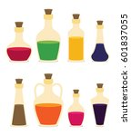 set of cartoon bottles and... | Shutterstock .eps vector #601837055
