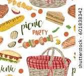 picnic party. seamless pattern... | Shutterstock .eps vector #601838342