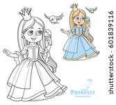 cute princess with long hair... | Shutterstock .eps vector #601839116