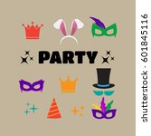 party birthday photo booth... | Shutterstock .eps vector #601845116