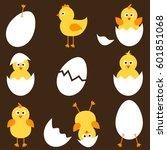 set of cartoon chickens. raster ...   Shutterstock . vector #601851068