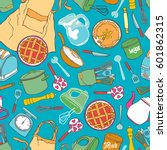 kitchen accessories. crockery ... | Shutterstock .eps vector #601862315