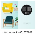 a set of chairs. interior....   Shutterstock .eps vector #601876802