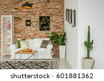 trendy living room with green... | Shutterstock . vector #601881362