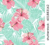 tropical coral flowers and... | Shutterstock .eps vector #601883162