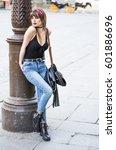 beautiful woman on the street... | Shutterstock . vector #601886696
