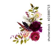 Stock photo watercolor boho burgundy magenta white floral corner bouquet flowers and feathers isolated 601888715