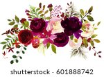 watercolor boho burgundy red... | Shutterstock . vector #601888742