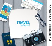 White frame, camera and documents. Business travel background. Easy to edit vector design template.