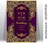 wedding invitation card... | Shutterstock .eps vector #601893926