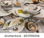 many dirty dish at university...   Shutterstock . vector #601900346