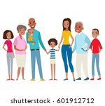 big happy family in the park.... | Shutterstock .eps vector #601912712