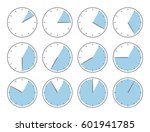 blue clock  five minute or one... | Shutterstock .eps vector #601941785