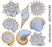 set of colored sea shells....   Shutterstock .eps vector #601944185