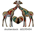 patterned giraffe in ethnic... | Shutterstock .eps vector #60195454
