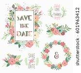 floral wedding set | Shutterstock .eps vector #601963412
