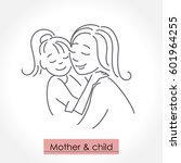mother with child. line art... | Shutterstock .eps vector #601964255