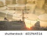 double exposure gold coins... | Shutterstock . vector #601964516