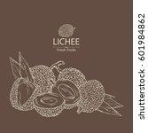 background with lichee. hand... | Shutterstock .eps vector #601984862