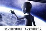 alien in futuristic room. hand... | Shutterstock . vector #601985942