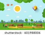 Park with Benches, People and City Skyline Silhouette. Sunny Day in City. Nature Vector Illustration. | Shutterstock vector #601988006