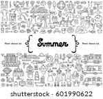 vector set with hand drawn... | Shutterstock .eps vector #601990622