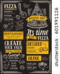 pizza food menu for restaurant... | Shutterstock .eps vector #601991126
