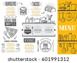 food menu for restaurant and... | Shutterstock .eps vector #601991312