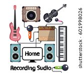 home recording studio with... | Shutterstock .eps vector #601998026