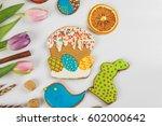 tulips and gingerbread cookies... | Shutterstock . vector #602000642