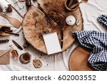 notepad with a pen for recipes...   Shutterstock . vector #602003552