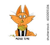 funny cat eat popcorn and... | Shutterstock .eps vector #602005106