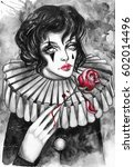 pierrot with a red rose. hand... | Shutterstock . vector #602014496