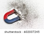 red and blue horseshoe magnet... | Shutterstock . vector #602037245