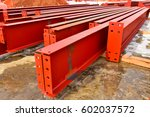 rows of large steel i beams... | Shutterstock . vector #602037572
