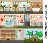 vector set of spa therapy... | Shutterstock .eps vector #602038736