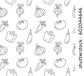 vegetables seamless pattern... | Shutterstock .eps vector #602044646
