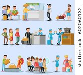 people in airport set with... | Shutterstock .eps vector #602060132